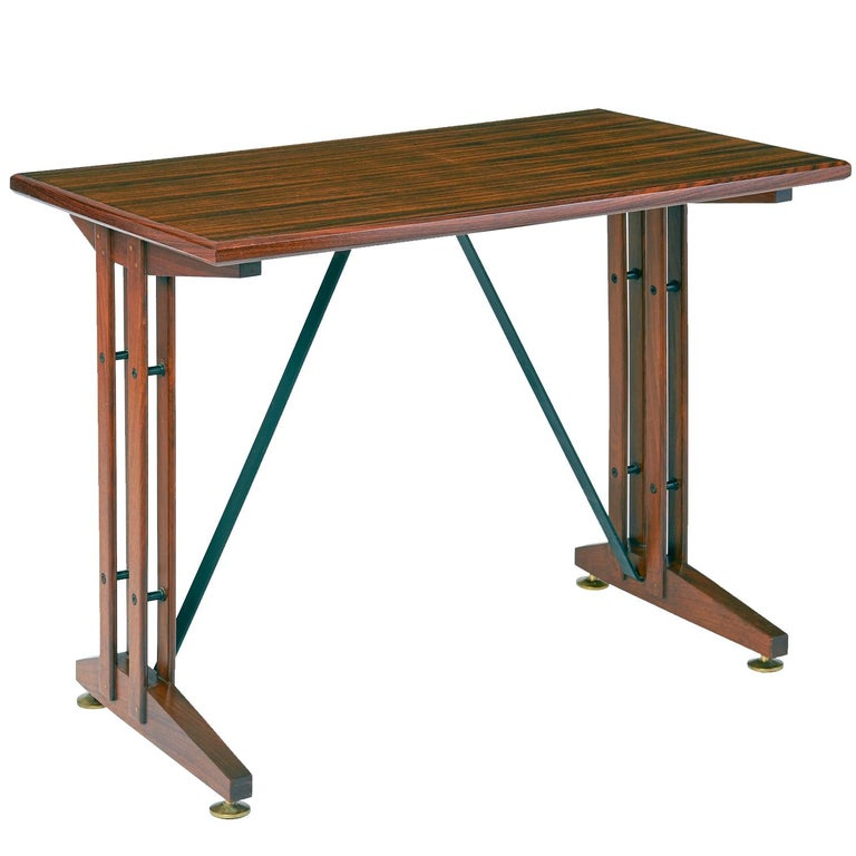 Writing or Laptop Polished Wood Table or Desk, Italy, 1950s For Sale