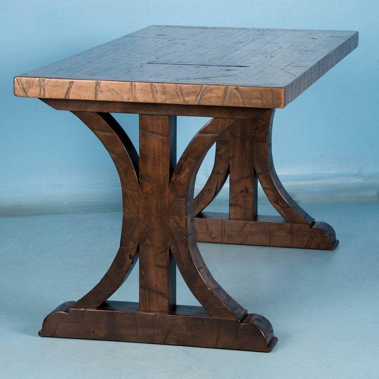 American Writing Table Desk Made from Reclaimed Oak Flooring For Sale