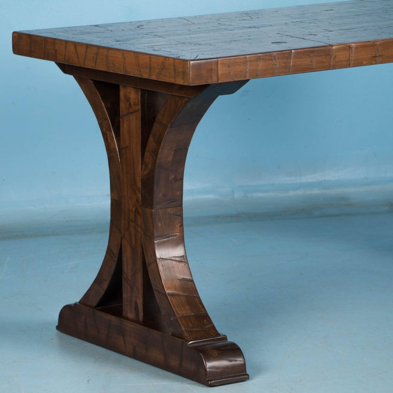Writing Table Desk Made from Reclaimed Oak Flooring In Good Condition For Sale In Denver, CO