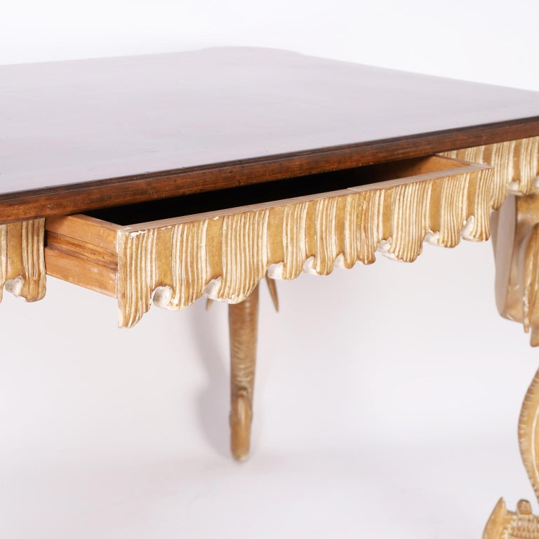Walnut Writing Table with Elephant Head Legs For Sale