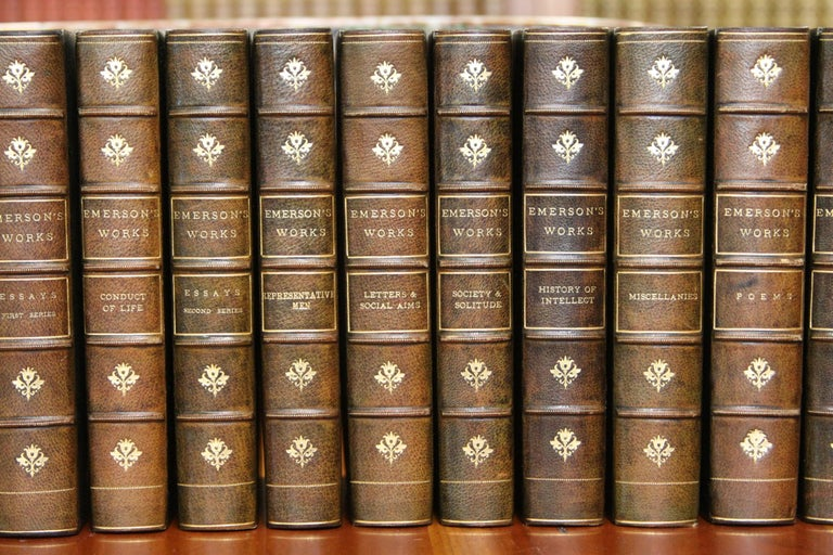 12 volumes published, New York Houghton Mifflin and Company, 1904. The writings of Ralph Waldo Emerson, with a biographical introduction and notes by Edward Waldo Emerson, portrait frontispiece.