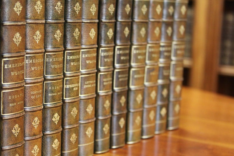 20th Century  Collections of Leather bound Antiques Books. The Writings of Ralph W. Emerson