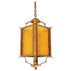 Wrought Gilt Iron and Glass Pendant Lamp / Lantern / Hanging Light