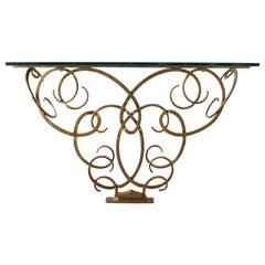 Wrought Gilt Iron Console after Raymond Subes with Glass Top