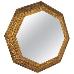 Wrought Gilt Iron Octagonal Mirror with Classical Motifs