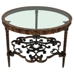Wrought Gilt Iron Smoked Glass Round Coffee Table, Twisted Legs and Floral Motif