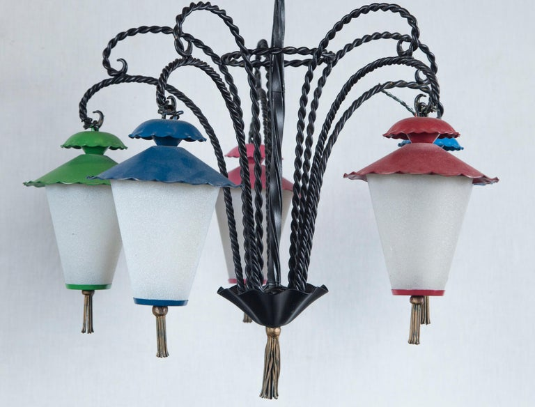 Milk Glass Wrought Iron 5 Japanese Lanterns Chandelier For Sale