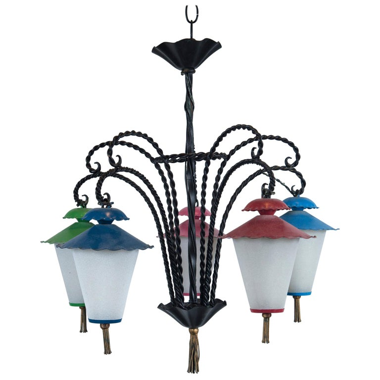 Wrought Iron 5 Japanese Lanterns Chandelier For Sale