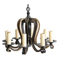 Wrought Iron 8 Arm Chandelier with Gold Detail Early 20th C.