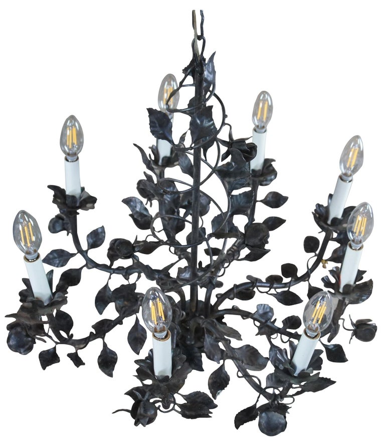 French Provincial Wrought Iron 8 Arm Floral Twisted Roses Chandelier Pendant Light, French For Sale