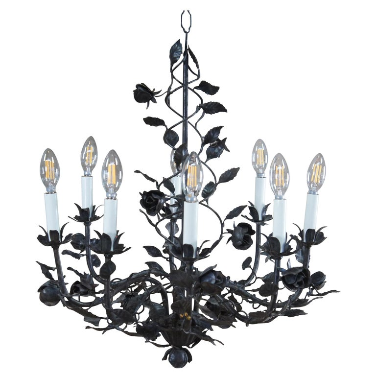 Wrought Iron 8 Arm Floral Twisted Roses Chandelier Pendant Light, French For Sale