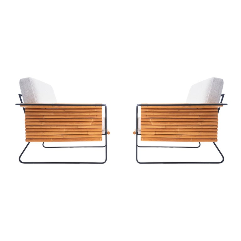 Unique set of two 1950s iron and rattan