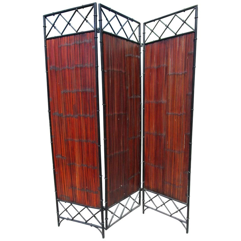 Wrought Iron and Bamboo Slat, Three-Panel Screen For Sale