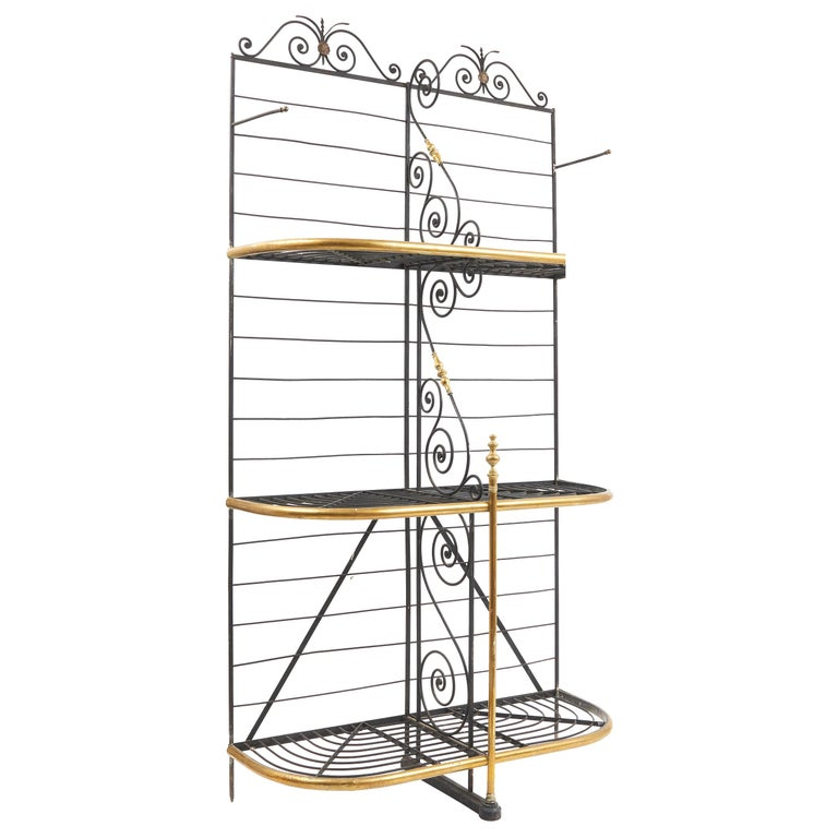 Wrought Iron and Brass Baker's Rack, France, circa 1880 For Sale