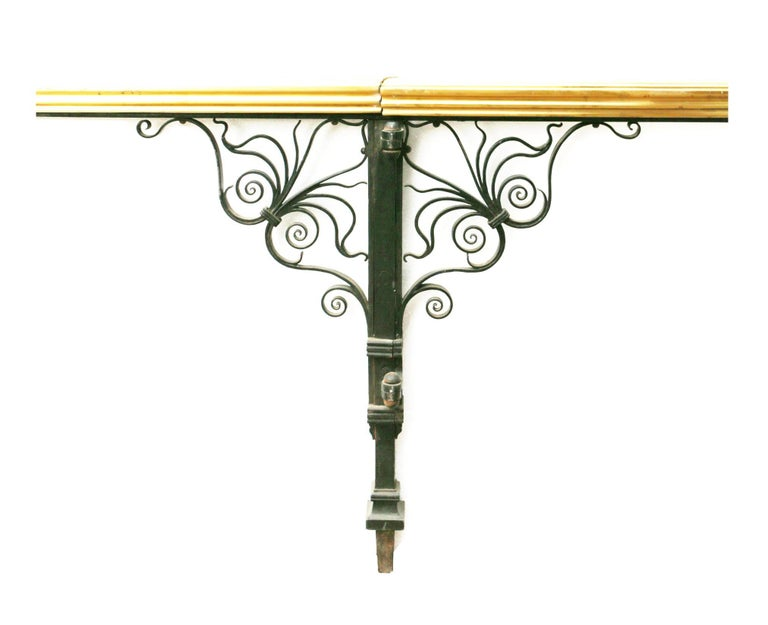 Regency Wrought Iron and Brass Balcony Rails For Sale