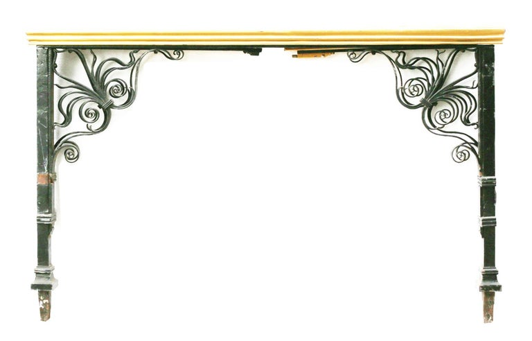 English Wrought Iron and Brass Balcony Rails For Sale