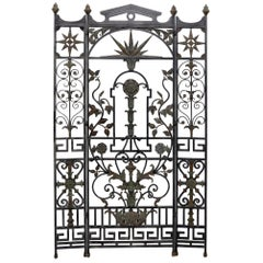 Wrought Iron and Brass Decorative Folding Screen Room Divider Gate
