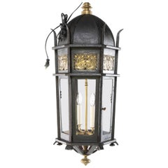 Wrought Iron and Bronze Lantern, circa 1900