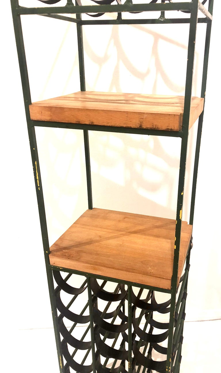 Tower Wine Rack By Arthur Umanoff Made Of Wrought Iron With New Black Leather Straps
