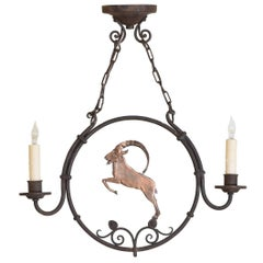 """Wrought Iron and Copper """"Mountain Goat"""" 2-Light Chandelier, circa 1930, UL Wired"""