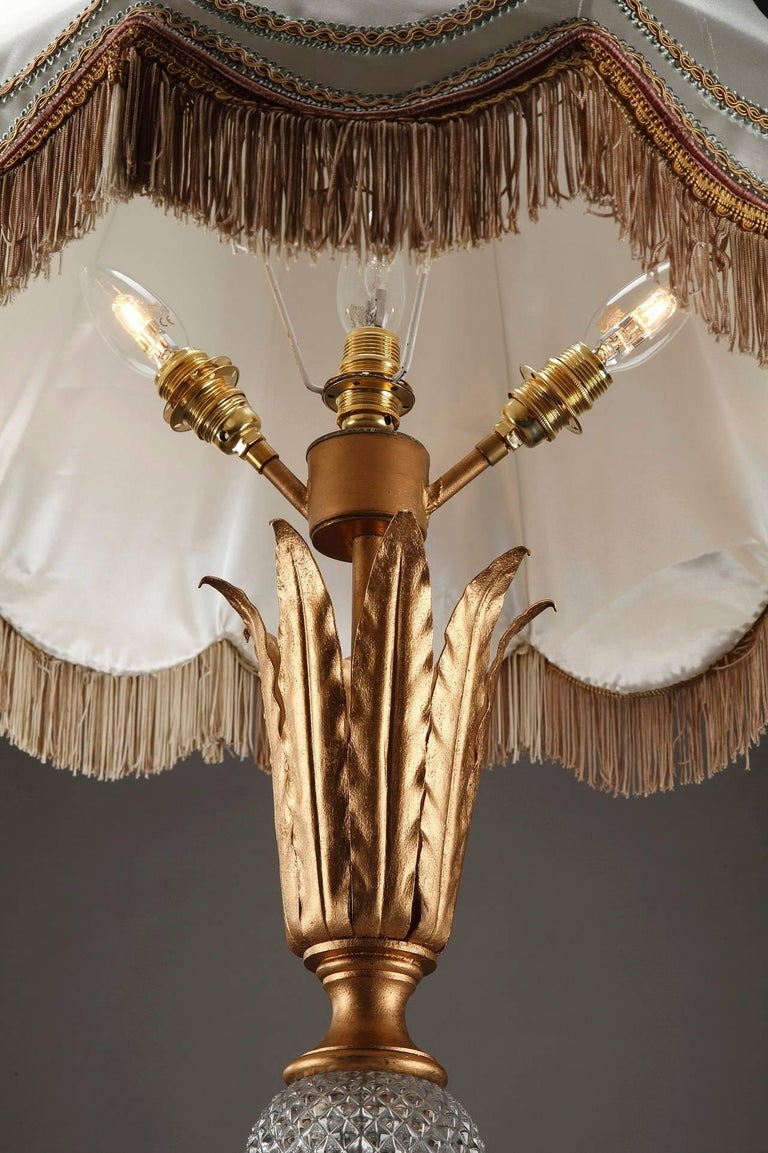 Wrought Iron And Crystal Midcentury Floor Lamp In Gilbert