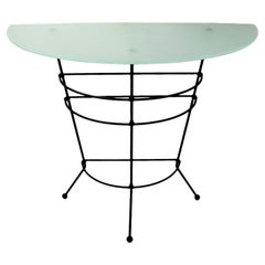 Wrought Iron and Frosted Glass Semi Circular Console