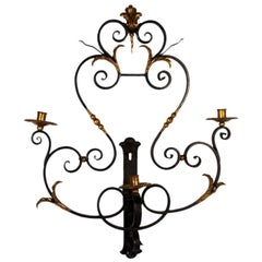 Wrought Iron And Gilt Wall Sconce