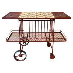 Wrought Iron and Glass 1950s Bar Cart by Salterini