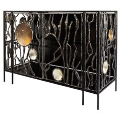 Wrought Iron and Glass Cabinet by Christophe Côme