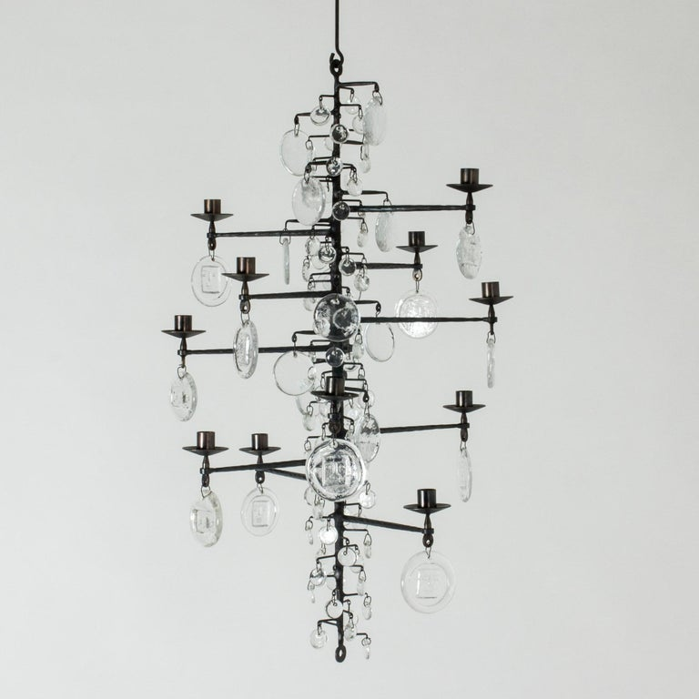 Scandinavian Modern Wrought Iron and Glass Candle Chandelier by Erik Höglund For Sale
