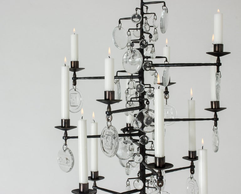 Swedish Wrought Iron and Glass Candle Chandelier by Erik Höglund For Sale