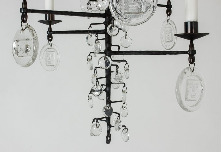Wrought Iron and Glass Candle Chandelier by Erik Höglund In Good Condition For Sale In Stockholm, SE