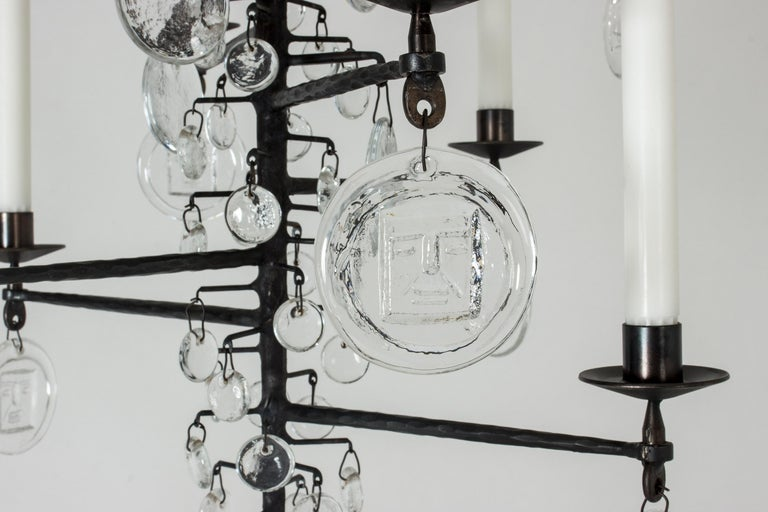 Mid-20th Century Wrought Iron and Glass Candle Chandelier by Erik Höglund For Sale