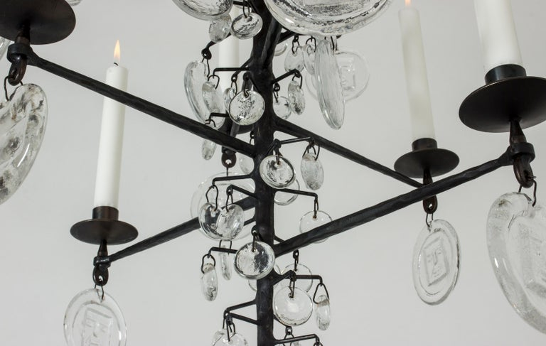 Wrought Iron and Glass Candle Chandelier by Erik Höglund For Sale 1
