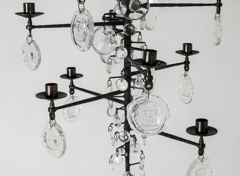 Wrought Iron and Glass Candle Chandelier by Erik Höglund For Sale 2