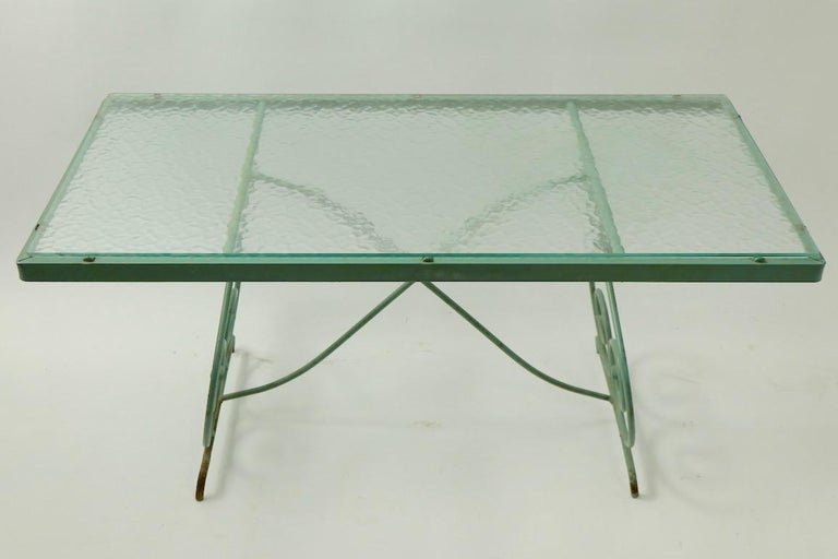 Wrought Iron and Glass Coffee Table by Woodard For Sale 4