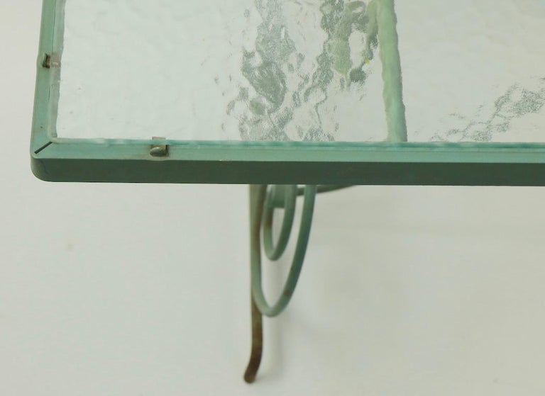 Wrought Iron and Glass Coffee Table by Woodard For Sale 6