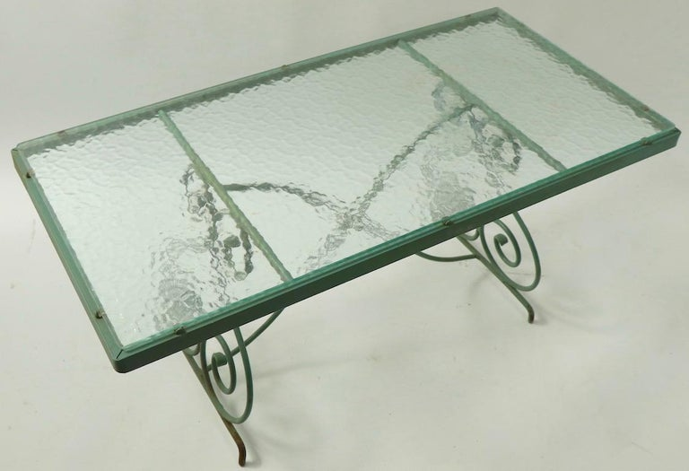 Wrought Iron and Glass Coffee Table by Woodard For Sale 7