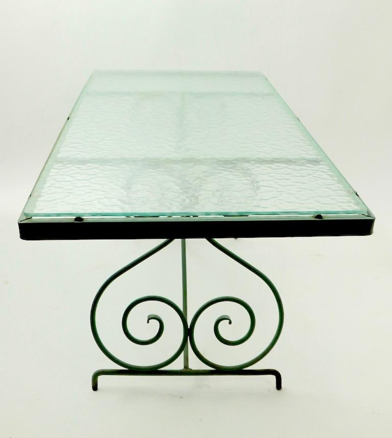 Wrought Iron and Glass Coffee Table by Woodard For Sale 8