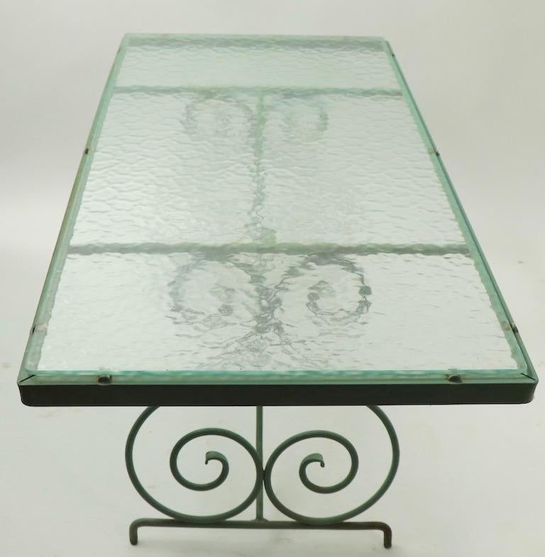 Wrought Iron and Glass Coffee Table by Woodard For Sale 10