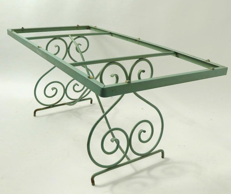 Mid-Century Modern Wrought Iron and Glass Coffee Table by Woodard For Sale