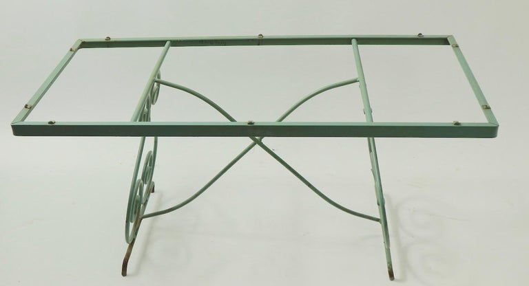 American Wrought Iron and Glass Coffee Table by Woodard For Sale