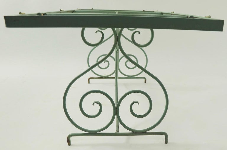 20th Century Wrought Iron and Glass Coffee Table by Woodard For Sale