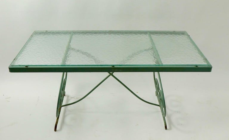 Wrought Iron and Glass Coffee Table by Woodard For Sale 2