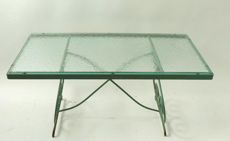 Wrought Iron and Glass Coffee Table by Woodard For Sale 3