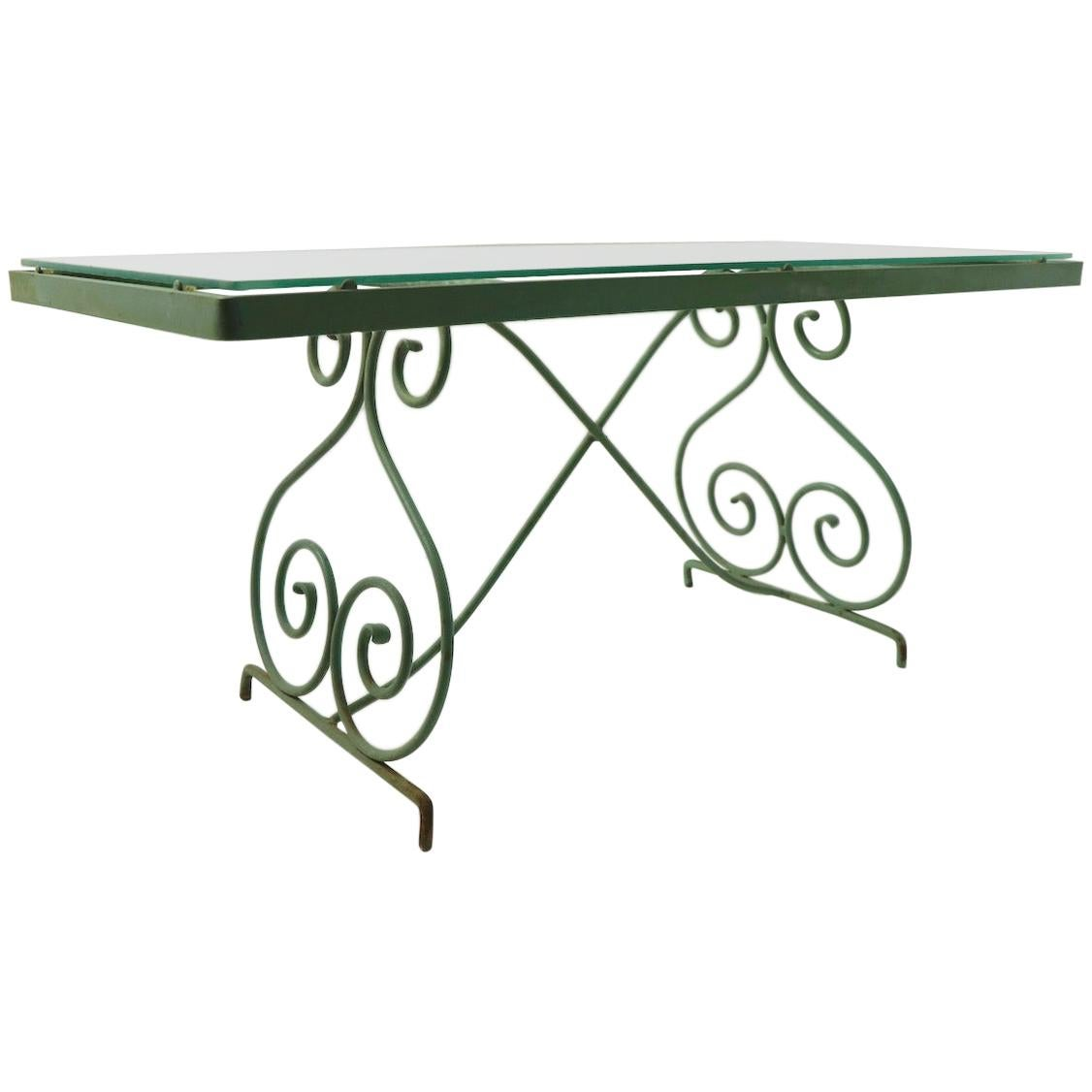 Wrought Iron and Glass Coffee Table by Woodard