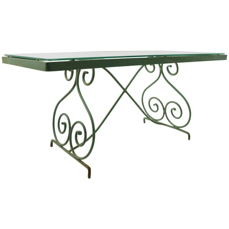 Wrought Iron and Glass Coffee Table by Woodard For Sale