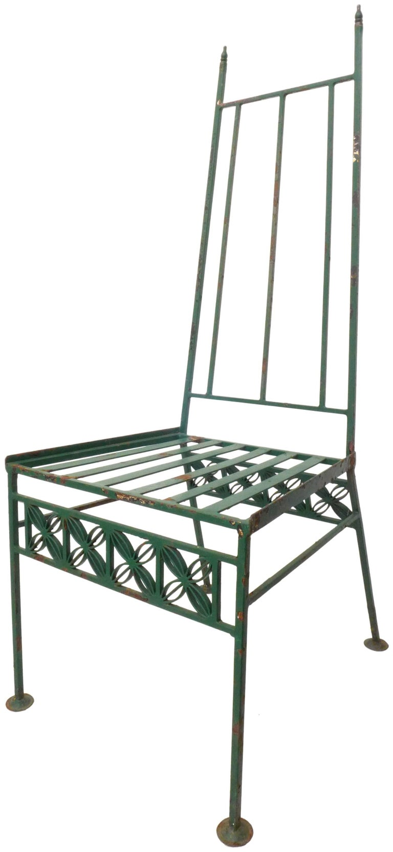 Mid-20th Century Wrought Iron and Glass Dining Set For Sale
