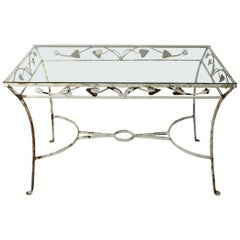 Wrought Iron and Glass Patio Garden Dining Table Attributed to Salterini