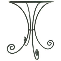 Wrought Iron and Glass Side Table with Curlicue Form Legs